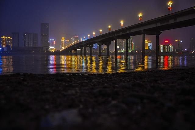 Night View, Bridge, Zhuzhou, Evening, City, River