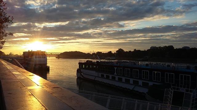 Danube, Sunrise, Clouds, Bratislava, Slovakia, River