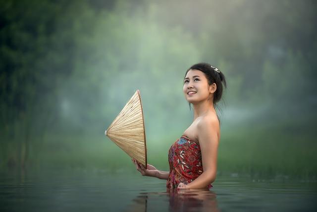 Woman, Lake, Asian, Portrait, Conical Hat, River