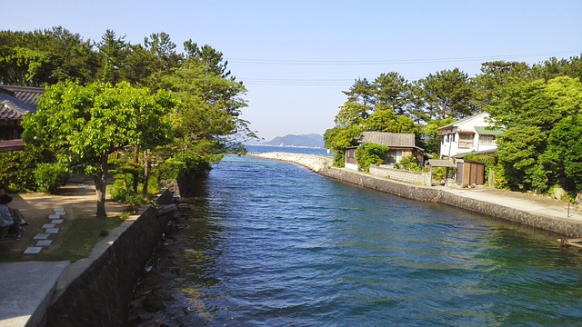Japan, Sea, River, Hagi Town