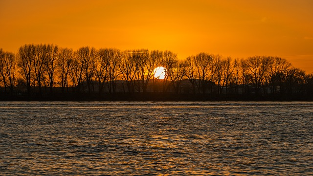 Sunset, Elbe, Hamburg, Landscape, Nature, Water, River