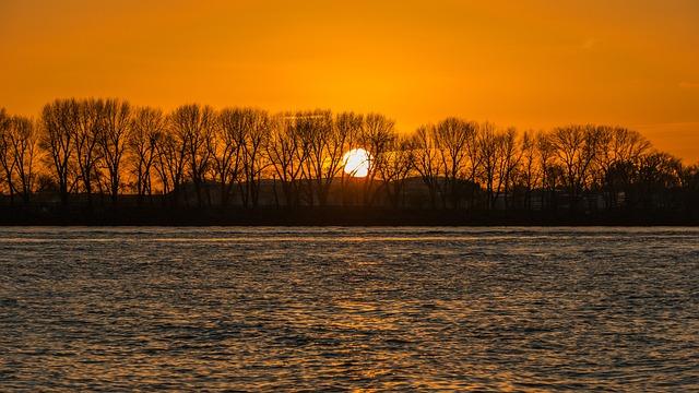 Sunset, Elbe, Hamburg, Landscape, Nature, Water, River