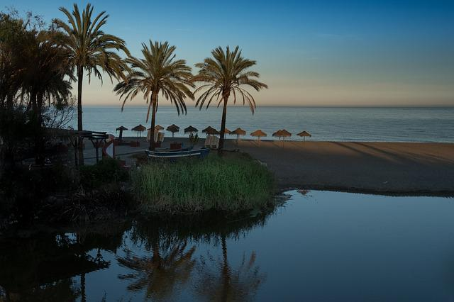 Sunset, Marbella, River, Beach, Sky, Blue, Horizon