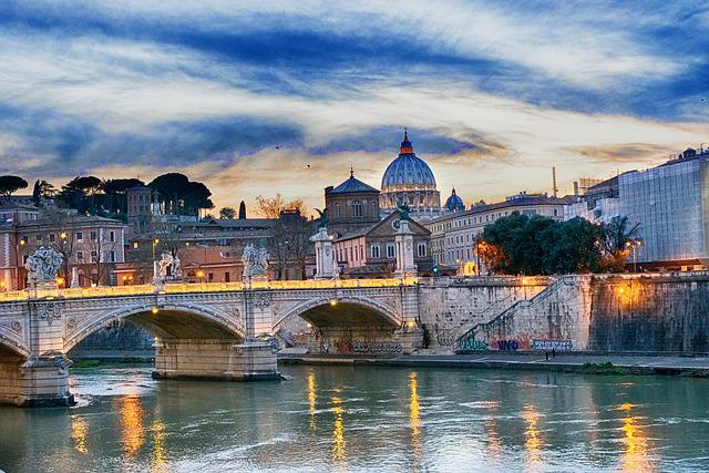 Tiber Bridge, Rome, Bridge, Italy, River, Church