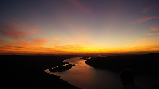 Sunset, River, Scenery, Landscape, Nature, Plain