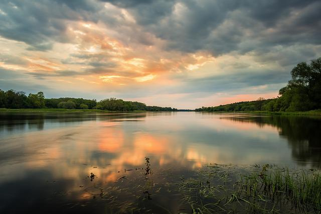 Elbe, River, Sunset, Long Exposure, Landscape, Water