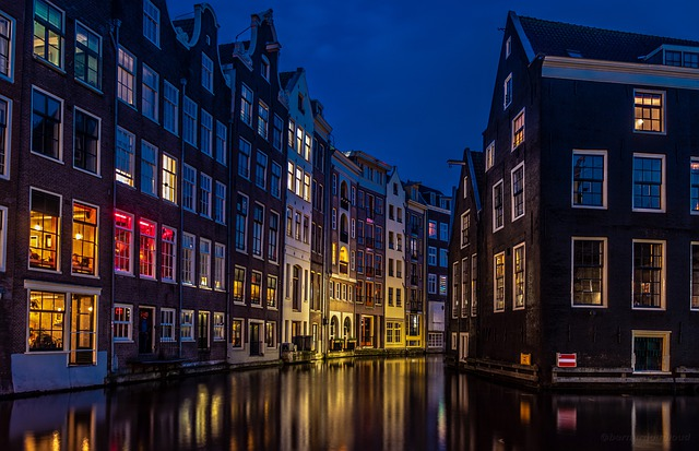 Amsterdam, River, City, Europe, Netherlands, Night