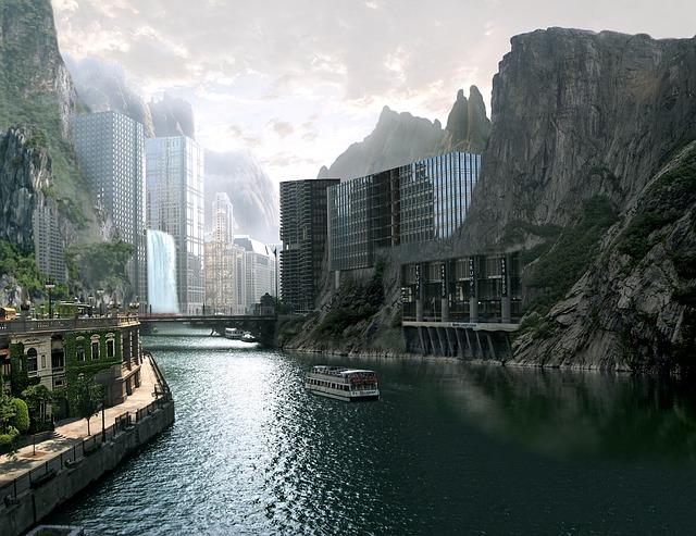 Town, Mountains, River, Futuristic, Paint, Fantasy