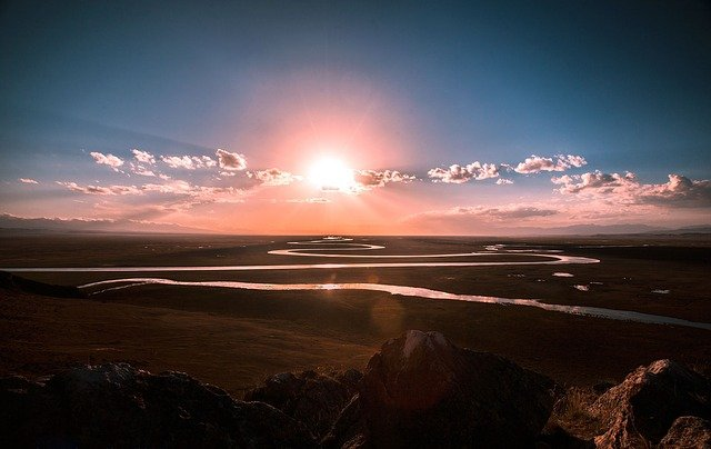 The Scenery, Prairie, River, Sunrise