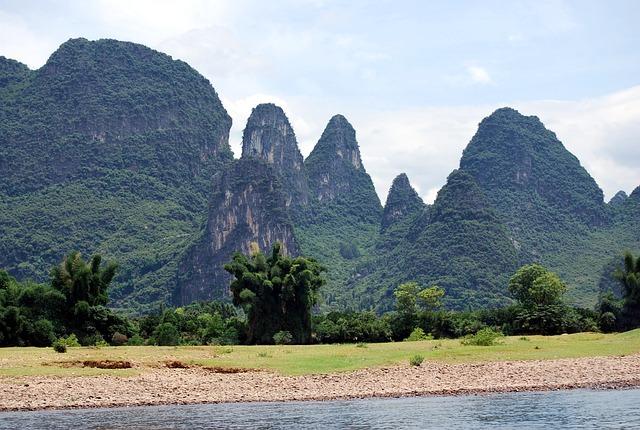 River, Mountains, Vegetation, Rock, Cliffs, Scenery