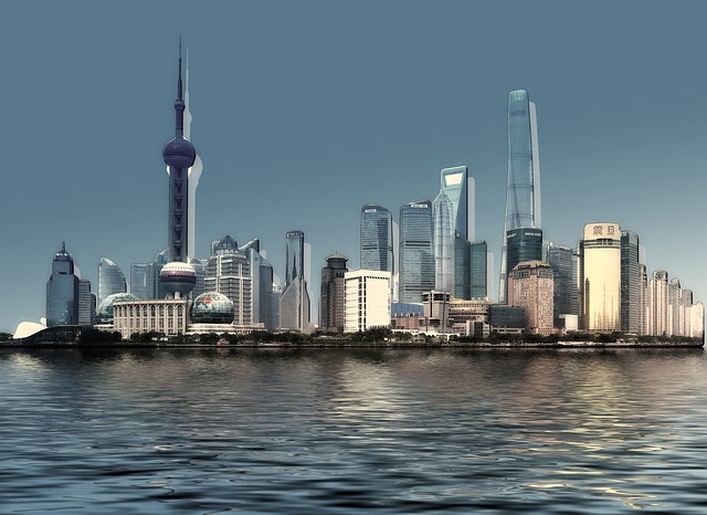 Skyline, City, Water, Wave, River, Building, Skyscraper