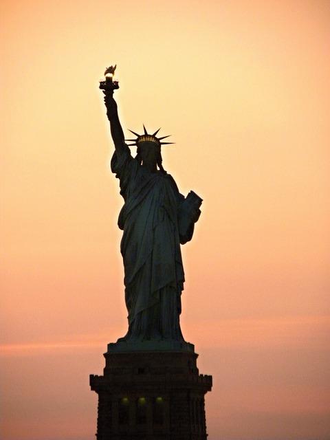 New York, Sunset, Manhattan, United States, River