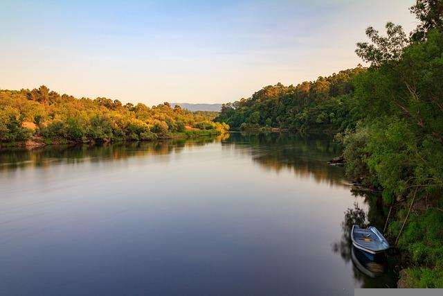 Boat, River, Miño, Galicia, Reflection, Water, Forest