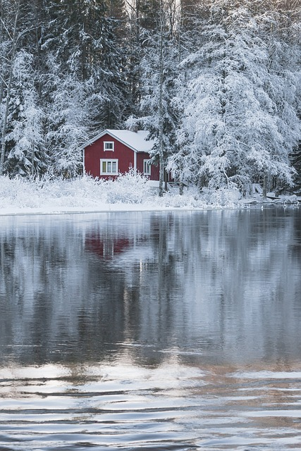 Cottage, River, Rapids, Water, Sula, Winter, Snow