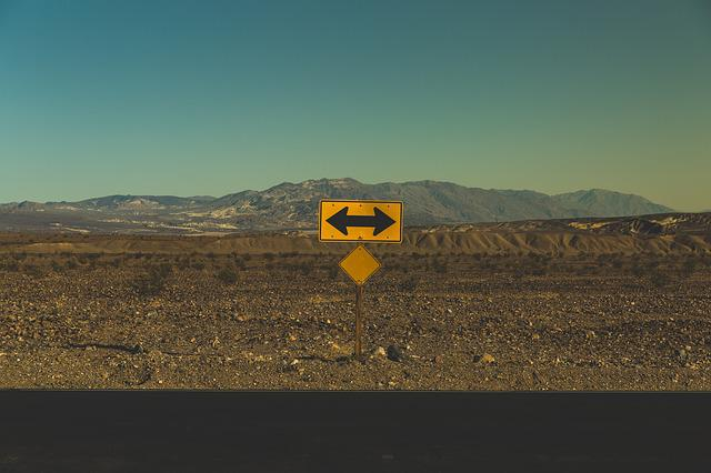Arrows, Barren, Direction, Mountains, Road, Road Sign