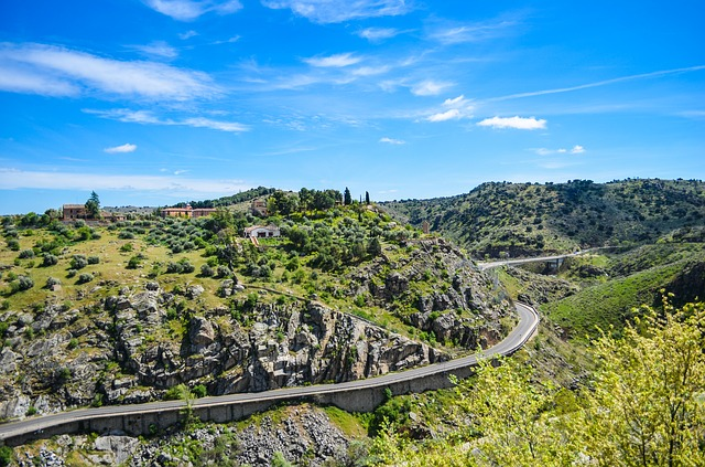 Road, Bergstrasse, Toledo, Spain, Mountain Road, Hill