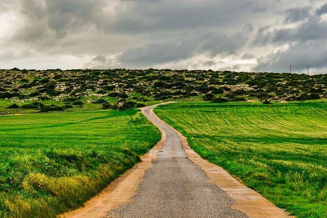 Cyprus, Cavo Greko, Road, Fields, Landscape, Scenery