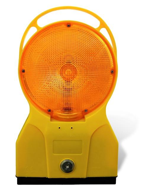 Site, Road Construction, Warning Light, Warning Lamp