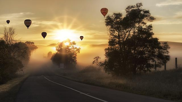 Hot Air Balloons, Road, Fog, Sunrise, Morning Fog