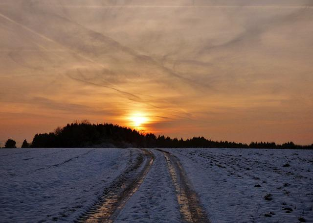 Sunset, Road, Snow, Frozen, Freeze, Winter