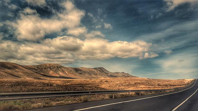 Volcano, Clouds, Road, Fuerteventura, Landscape