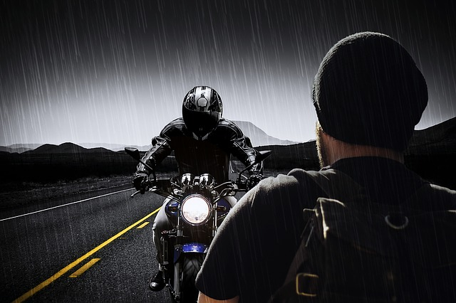 Man, Machine, Motorcycle, Helmet, Road, Night, Rain