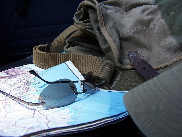 Road Map, Sun Glasses, Traveller, Travelling