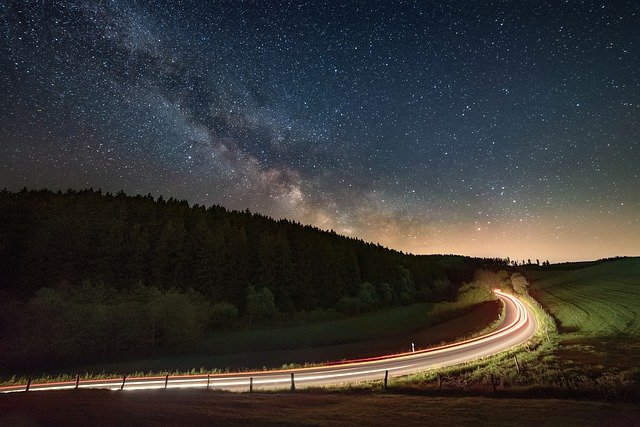 Night, Milky Way, Road, Light Traces, Starry Sky, Auto
