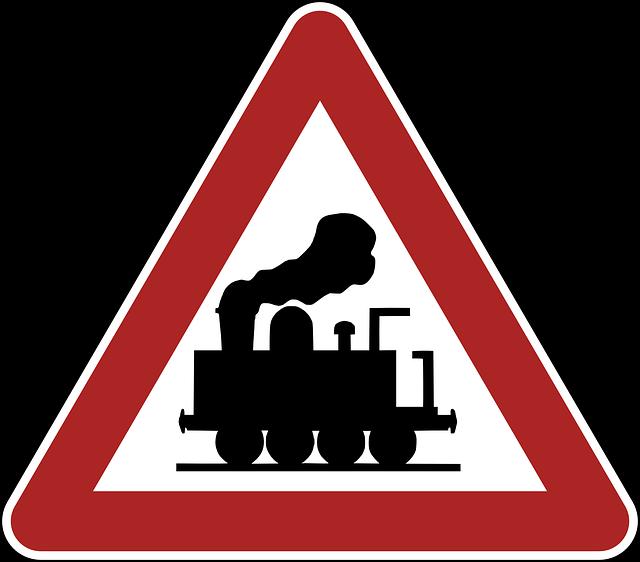 Warning, Railway Crossing, Road Sign, Germany, Traffic