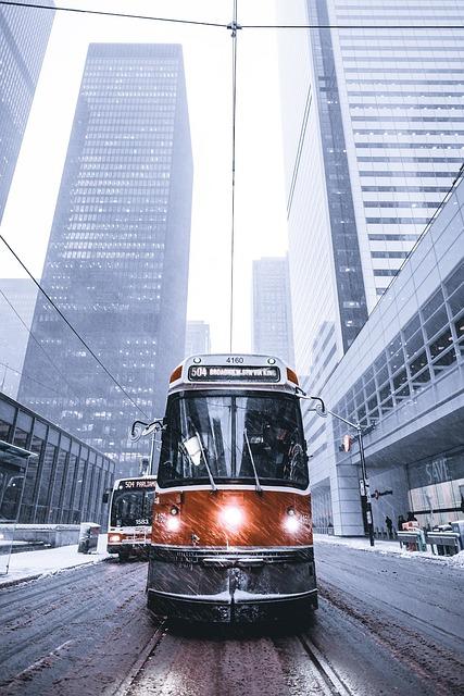 Architecture, Buildings, City, Downtown, Road, Snow
