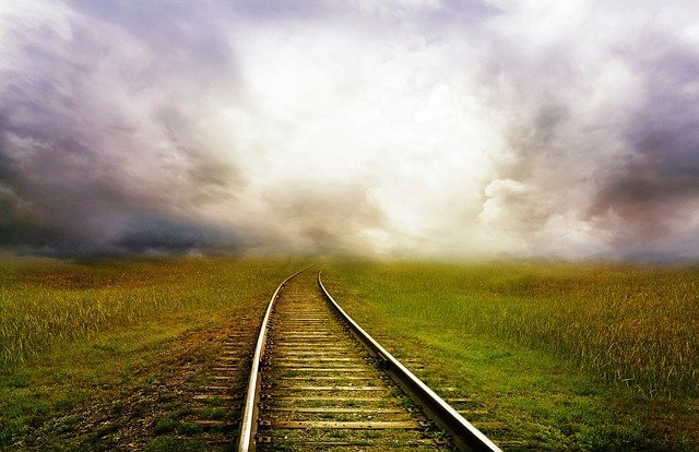 Road, Train, Landscape, Storm, Clouds, Fantasy