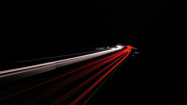 Highway Lights, Night, Highway, Road, Auto, Traffic
