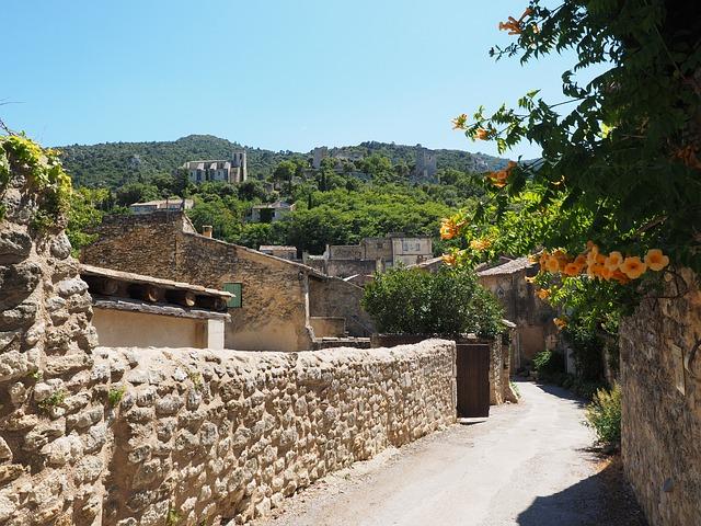 Road, Stone Walls, Village, France, Provence