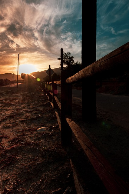 Fence, Road Walk, Sunset