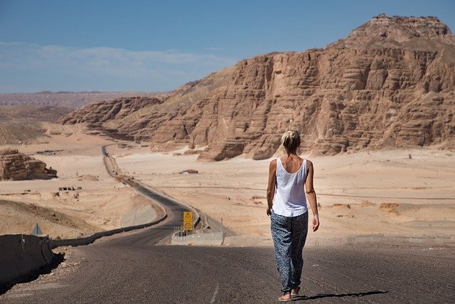 Woman, Walking, Desert, Road, Sinai, Egypt, Sky, Yellow