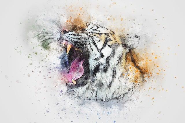 Tiger, Roar, Animal, Art, Abstract, Watercolor, Vintage