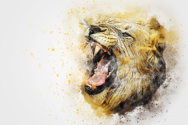 Lion, Animal, Roar, Art, Abstract, Watercolor, Vintage