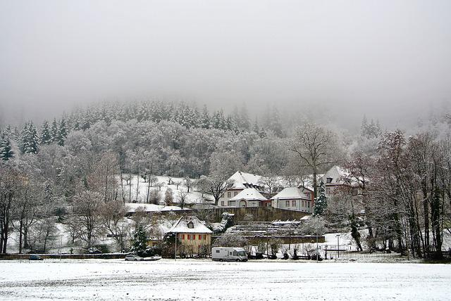 Freiburg, Snow, Robert Bosch College, Mist, Frosty