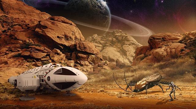 Spaceship, Robot, Alien, Science Fiction, Planet