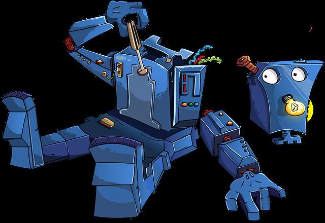 Robot, Disassembled, Blue, Lightbulb, Cartoon, Antenna