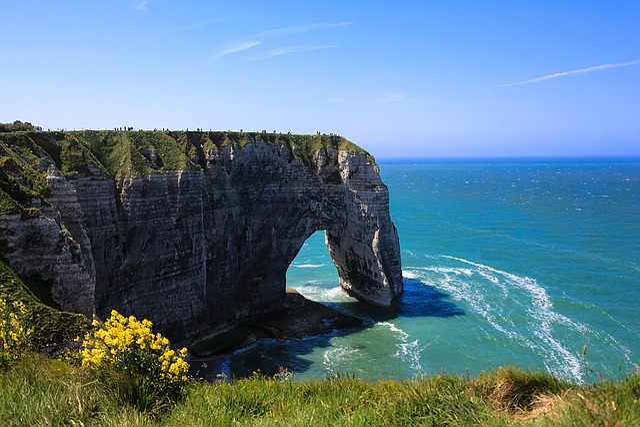 Normandy, Sea, Entretat, France, Roche, Cliff