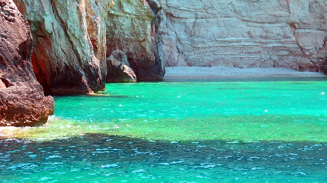 Rock, Sea, Colors, Turquoise, Emerald, Beach