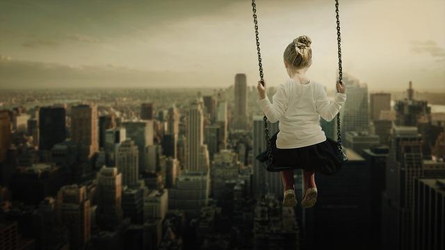 Girl, Swing, Rock, Skyline, Skyscraper, View