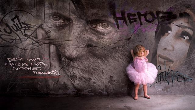 Graffiti, Wall, Child, Girl, Rock, Pink, Face