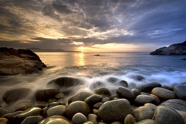 The Beach, Gravel, The Morning, Rock, The Sea