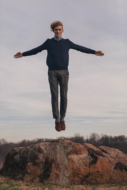 Jump, Levitate, Man, Model, Rock