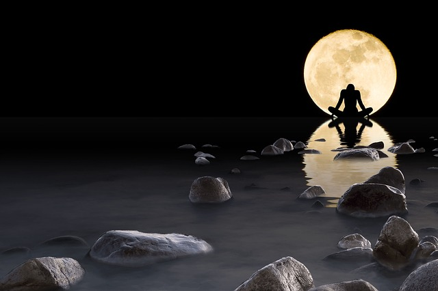 Luna, Water, Stones, Rock, Reflection, Horizon, Night