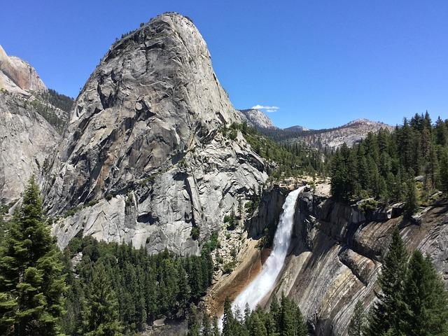 Nevada Falls, Rock, Water, Waterfall, Yosemite