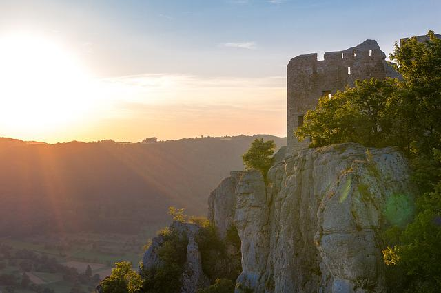 Ruin, Landscape, Rock, Burgruine, Back Light, Sunset