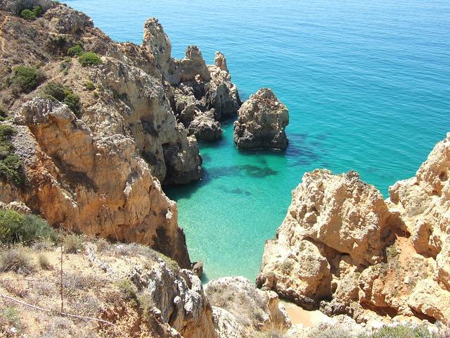 Rock, Algarve, Sea, Beach